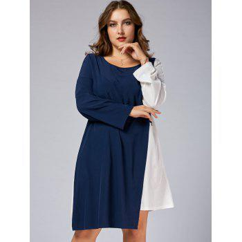 Plus Size Color Block Business Dress with Sleeves - BLUE/WHITE BLUE/WHITE