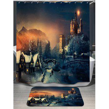 Fairy Tale Castle Printed Shower Curtain and Rug - COLORMIX COLORMIX