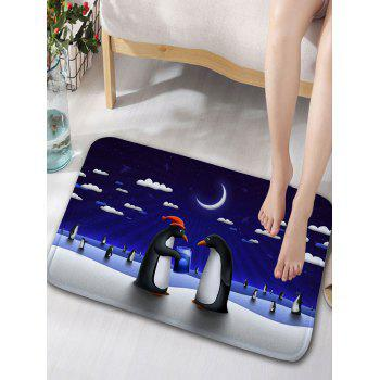 Moonlit Penguin Printed Shower Curtain and Rug -  CERULEAN