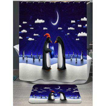 Moonlit Penguin Printed Shower Curtain and Rug - CERULEAN CERULEAN