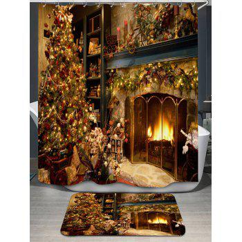 Christmas Fireplace Print Shower Curtain and Rug