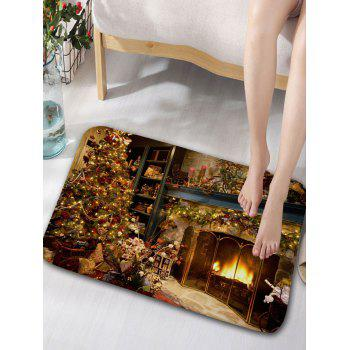 Christmas Fireplace Print Shower Curtain and Rug -  YELLOW