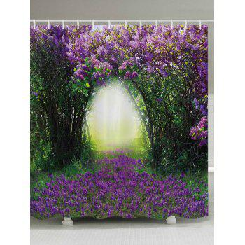 Floral Tree Hole Print Fabric Bathroom Shower Curtain - PURPLE PURPLE