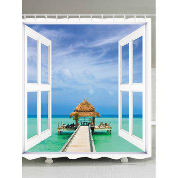 Window Sea View Print Fabric Bathroom Shower Curtain