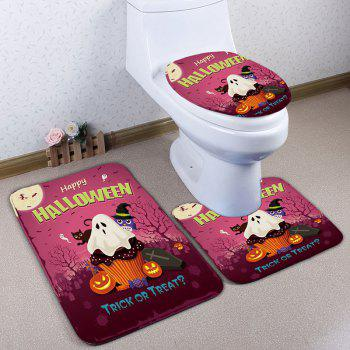 3Pcs/Set Halloween Bathroom Decor Flannel Toilet Rug - RUSSET-RED RUSSET RED