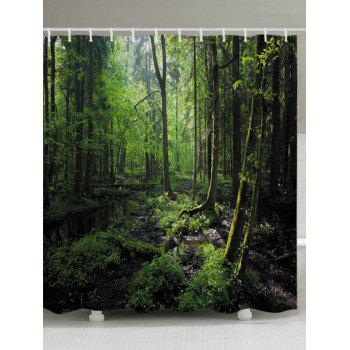 Forest Trees Print Fabric Bathroom Shower Curtain - GREEN GREEN
