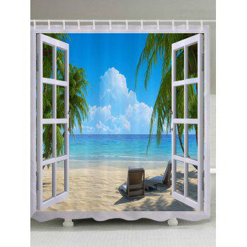 Window Beach View Print Fabric Bathroom Shower Curtain