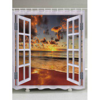 Window Beach Sunset Print Fabric Bathroom Shower Curtain