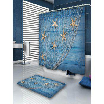 Starfish Fishing Net Bath Curtain and Rug