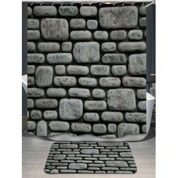 Stone Wall Pattern Bath Curtain and Rug