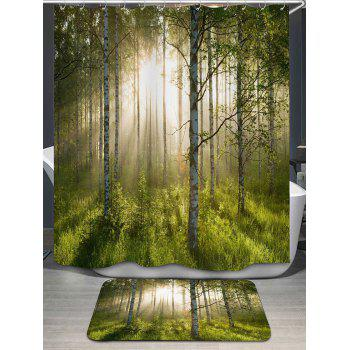 Forest Printed Shower Curtain and Bath Rug