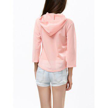 Sheer Mesh Asymmetric Cropped Hoodie - LIGHT PINK S