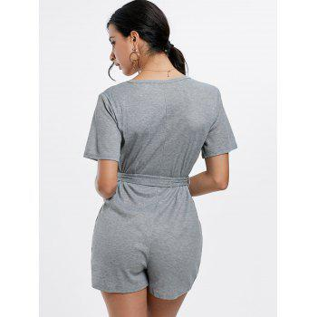 Button Down Belt Knit Romper - GRAY S