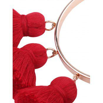 Alloy Tassel Charm Cuff Bangle Bracelet -  RED