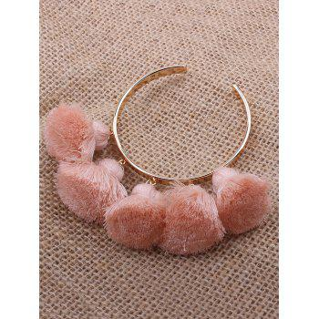 Alloy Tassel Charm Cuff Bangle Bracelet - PINK