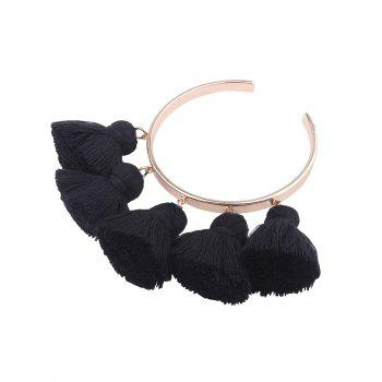 Alloy Tassel Charm Cuff Bangle Bracelet - BLACK