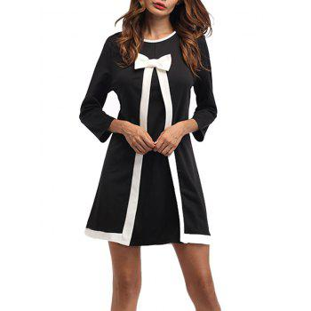 Bowknot Embellished Mini Shift Dress - BLACK BLACK