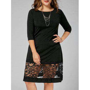Lace Panel Plus Size A Line Dress