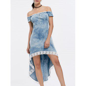 Fashionable Scoop Neck Laciness Spliced High-Low Hem Short Sleeve Women's Denim Dress - BLUE ONE SIZE(FIT SIZE XS TO M)