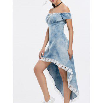 Fashionable Scoop Neck Laciness Spliced High-Low Hem Short Sleeve Women's Denim Dress