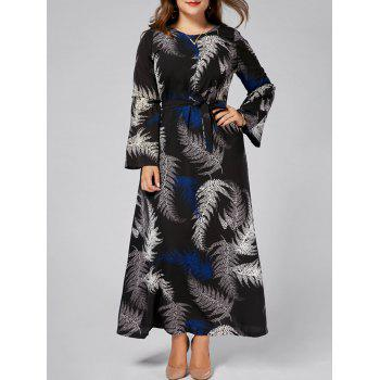 Leaves Printed Plus Size Long Sleeve Maxi Dress