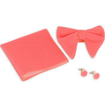 Three Pieces Bowtie Handkerchief Cufflink Set - PINK PINK