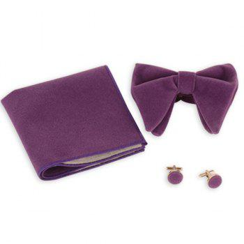 Three Pieces Bowtie Handkerchief Cufflink Set - BLUE VIOLET BLUE VIOLET