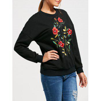 Drop Shoulder Flower Embroideried Sweatshirt