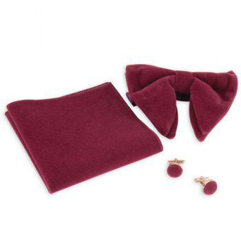 Three Pieces Bowtie Handkerchief Cufflink Set - PURPLISH RED PURPLISH RED