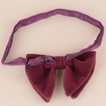 Three Pieces Bowtie Handkerchief Cufflink Set -  PURPLISH RED