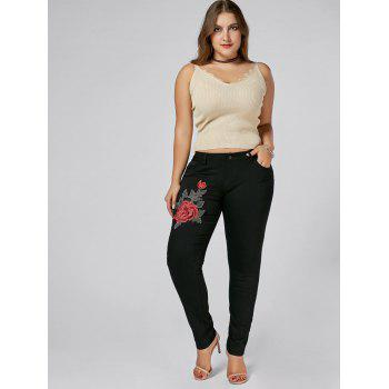 Plus Size Floral Embroidered Tight Jeans - BLACK BLACK