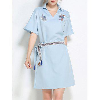 Batwing Sleeve Embroidery Sequins Belted Shirt Dress