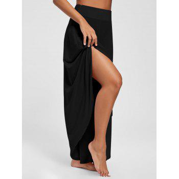 Overlap Swing Culotte Pants - BLACK XL
