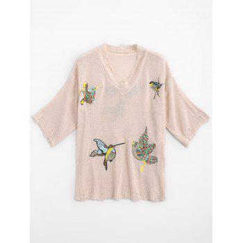 V Neck Ripped Birds Embroidered Sweater