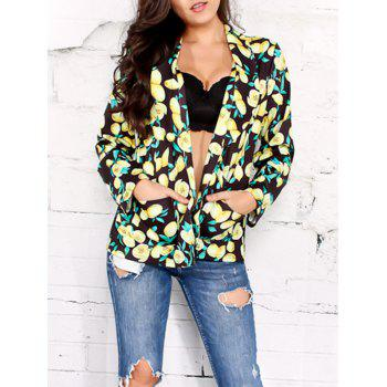 Open Front Shawl Collar Lemon Print Blazer