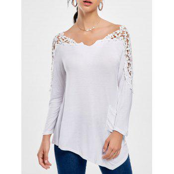 Crochet Insert Long Sleeve Asymmetric Top