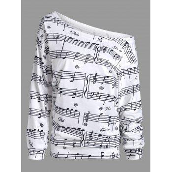 Musical Notes Print Long Sleeve Sweatshirt