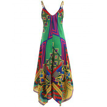 Printed Asymmetric Cami Palazzo Jumpsuit - COLORMIX M