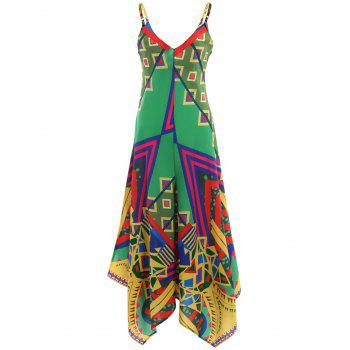 Printed Asymmetric Cami Palazzo Jumpsuit - COLORMIX 2XL