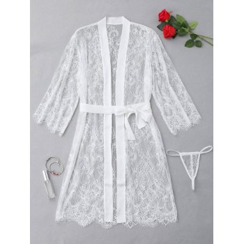 Sheer Lace Scalloped Lingerie Set - WHITE ONE SIZE