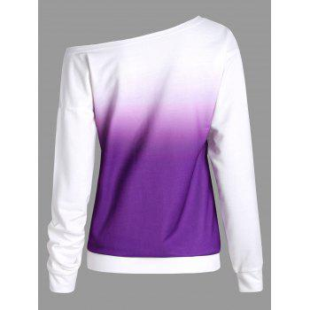 Ombre Printed Long Sleeve Sweatshirt - PURPLE M