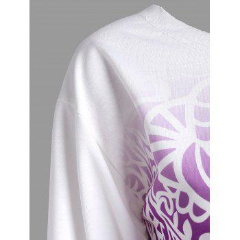Ombre Printed Long Sleeve Sweatshirt - PURPLE 2XL
