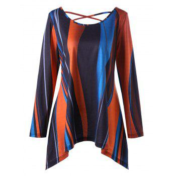 Plus Size Criss Cross Striped Asymmetric T-shirt - COLORMIX COLORMIX