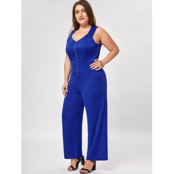 Plus Size Zip Up Wide Leg Jumpsuit - BLUE BLUE