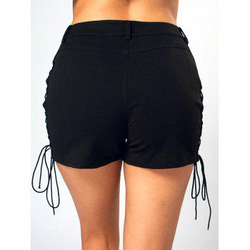 Lace Up Side High Waisted Mini Shorts - BLACK L