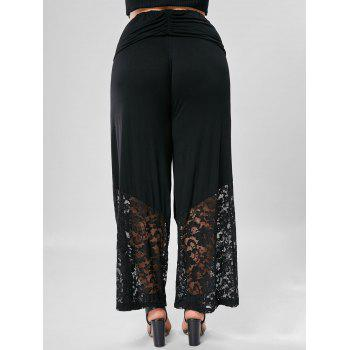 Lace Trim Wide Leg Plus Size Pants - BLACK 4XL