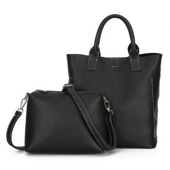 PU Leather Tote Bag Set with Scarf - BLACK