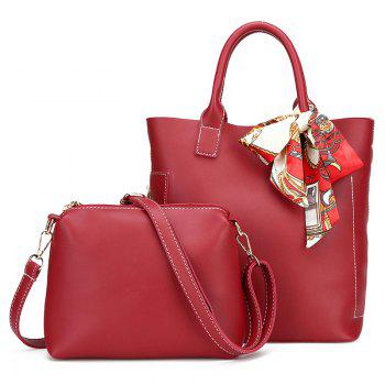 PU Leather Tote Bag Set with Scarf - RED RED