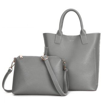 PU Leather Tote Bag Set with Scarf -  GRAY