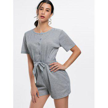 Button Down Belt Knit Romper - GRAY GRAY
